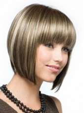 Impressive Regularity Bangs Short Mixed Color Bob Hairstyle Capless Synthetic Top Quality Wig About 10 Inches