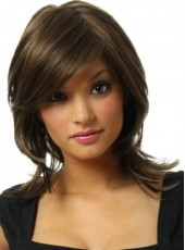 New Charming Medium Dark Coffee Wavy Bouncy Venation Hairstyle Capless Heat Resistant Wig About 14 Inches