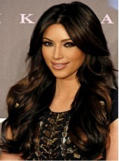 Kim Kardashian Hairstyle Two-Tone Charming Long Curly Synthetic Hair Lace Front Wig About 24 Inches