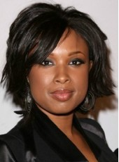 Jennifer Hudson Stylish Short Natural Straight Jet Black Synthetic Lace Front Wig About 12 Inches