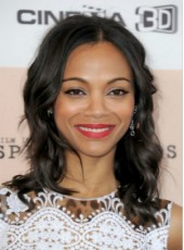 Zoe Saldana Hairstyle African American Hair Wavy 16 Inches 100% Black Human Remy Hair Lace Front Wig