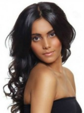 Elegant Top Grade African American Hairstyle Long Wavy Full Lace Human Hair Wig About 24 Inches
