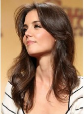 Custom Katie Holmes Long Loose Wave Brown Hairstyle Glueless Cap Human Remy Hair Wigs