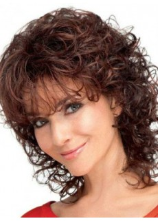 Custom Charming Medium Burgundy Wavy Capless Heat Resistant Synthetic Hair Top Quality Wig About 14 Inches