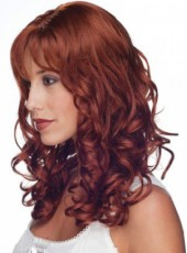 Polish Burgundy Long Sexy Wavy Venation Hairstyle Capless Heat Resistant Hair Fascinating Wig About 20 Inches