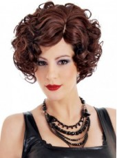 Newest Burgundy Short Charming Wavy Venation Hairstyle Glueless Lace Front Heat Resistant Hair Wig About 10 Inches