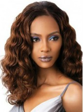 Black Women African American Human Hair Long Polish Brown Wavy Venation Glueless Lace Wig About 18 Inches