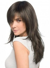 Newest Polish Black Long Layered Straight Oblique Bangs Capless African American Human Hair Wig About 22 Inches