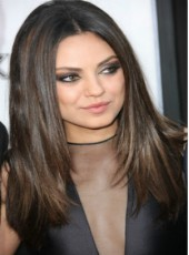 Mila Kunis Long Silky Straight Monofilament Top Glueless Cap Natural Black African American Wigs