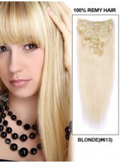 Silky Straight Mixed-Color Clip In Human Hair Extension About 18 Inches