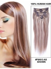 Charming Super Long Silky Straight 100% Indian Remy Hair Clip In Hair Extension About 22 Inches