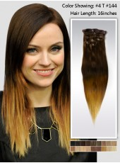 16'' Two-Colors Ombre Indian Remy Human Hair  Clip In Hair Extension