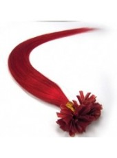 16'' Red Charming High Quality Human Hair Custom Nail Tip Extensions