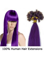 16 Inches Purple Medium Silky Straight 100% Human Hair U Tip Extensions