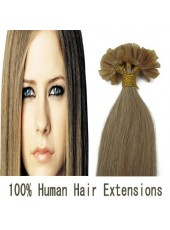 20'' 100% Human Hair Light Brown Silky Fashion Straight U Tip Hair Extensions