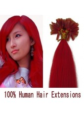 16'' Fashion Red Submissive Straight Nail Tip Human Remy Hair Extensions