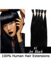 16'' Pure Black 100% Human Hair Stick/I Tip Hair Extensions