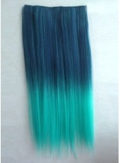 24 Inches Top Quality Peacock Green Gradient Straight Clip In Heat Resistant Hair