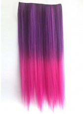 24'' Pink Gradient Rose Red Clip In Heat Resistant Straight Hair