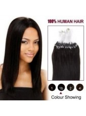 22 Inches Natural Black #1B Micro Loop Ring Brazilian Human Hair Extensions