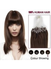 18 Inches Medium Brown #4 Straight 100% Micro Loop Ring Human Hair Extensions