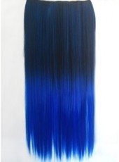 24'' Black Gradient Navy Blue Clip In Heat Resistant Straight Hair
