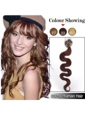 18 Inches Bright Brown #33 Wavy Micro Loop Ring Human Hair Extensions