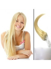 22'' 60Grams Bleach Blonde Straight Micro Loop Ring Human Hair Extensions