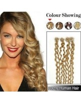 20 Inches Curly Blonde Micro Loop Ring Indian Human Hair Extensions