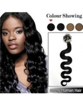 22 Inches Natural Black Wavy Micro Loop Ring Brazilian Human Hair Extensions