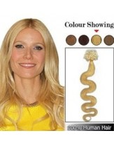 20'' Light Blonde Wavy Micro Loop Ring Indian Human Hair Extensions