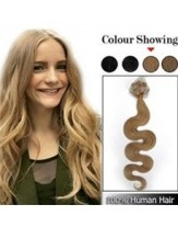 18'' Light Brown Wavy Micro Loop Ring Top Quality Human Hair Extensions