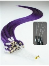 24'' Custom Purple Silky Straight Micro Loop Ring Human Hair Extensions