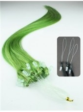 18 Inches  Light Green Straight Micro Loop Ring Human Hair Extensions