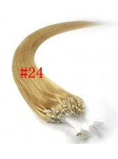 22 Inches Blonde #24 Straight Micro Loop Ring Human Hair Extensions