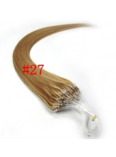 20'' Custom Light Brown #27 Micro Loop Ring Human Hair Extensions