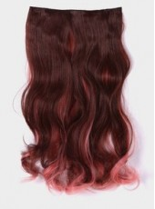 20'' Dark Brown And Rouge Powder Heat Resistant Hair Extension