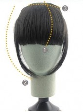 Natural Black Long Sidebums Regular Heat Resistant Hair Bangs
