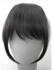 Long Sideburns Regular Wavy Natural Black Heat Resistant Hair Bangs