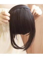 Headband Bangs Dark Brown Silky Heat Resistant Hair