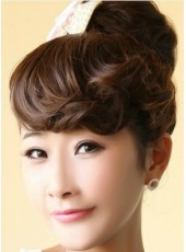 Dark Brown Beautiful Wavy Heat Resistant Bangs