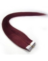 20 Inches Burgundy 100% Human Hair Skin Weft Extensions
