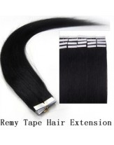 18'' Straight Jet Black 20Pcs Remy Tape Hair Extensions