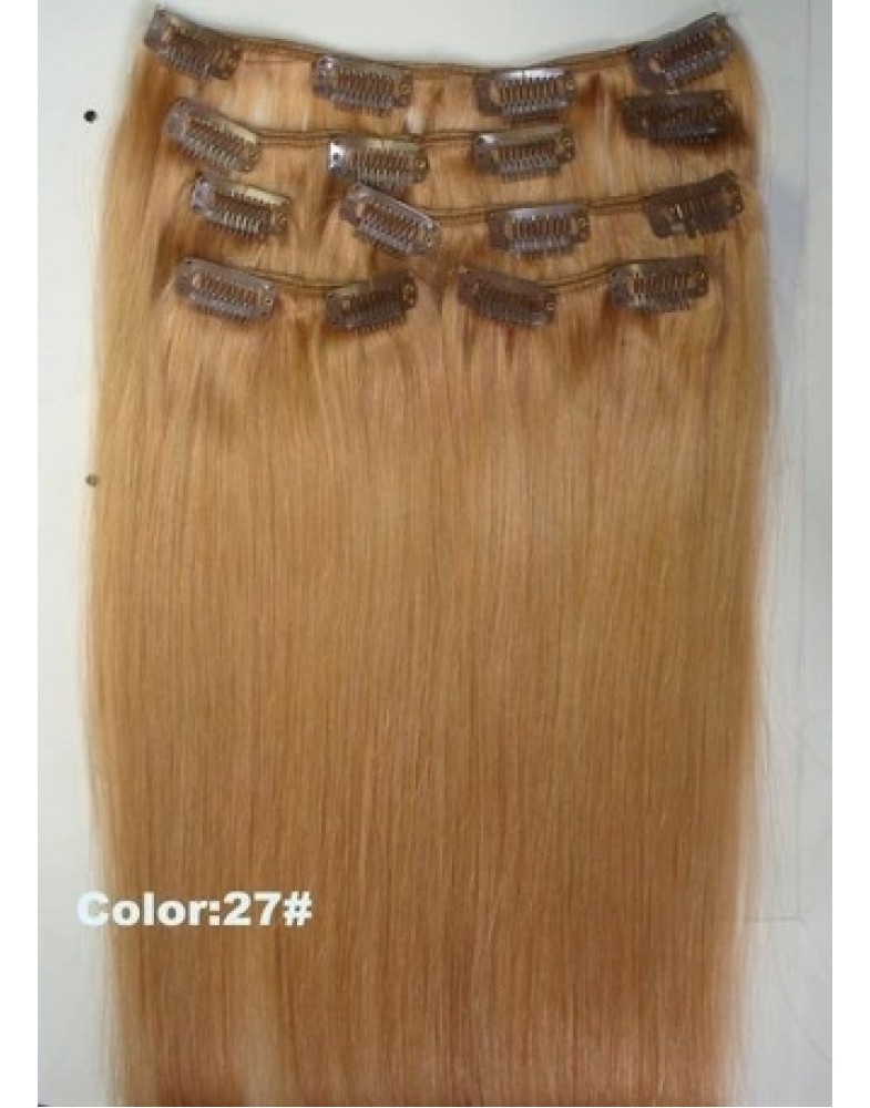 20'' 100% Indian Human Hair 7pcs Clip In Brown(#27)  Hair Extensions