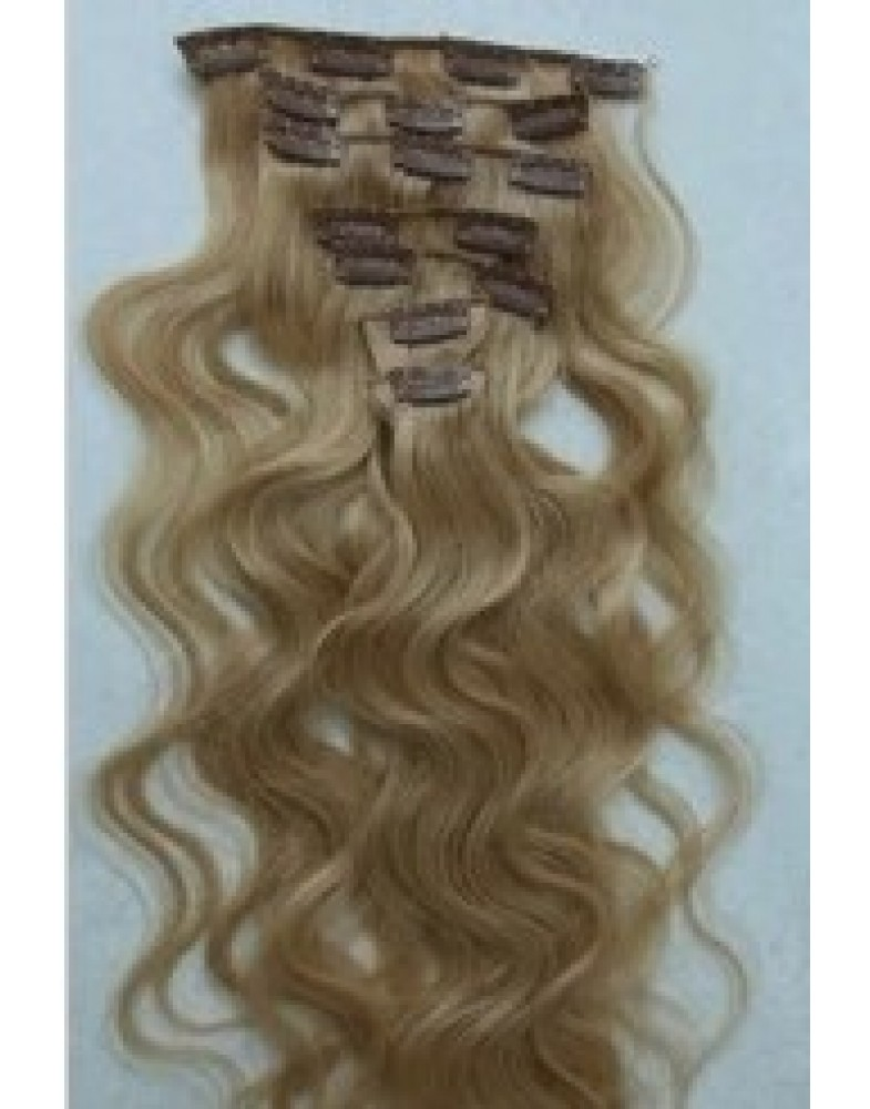 20'' Brown Wavy 7pcs Clip In Indian Human Hair Extensions