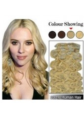 10'' Full Head Set Wavy 7Pcs Clip In Real Human Hair Extension