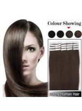 16'' Natural Black Straight 20Pcs Tape In Human Hair Extensions
