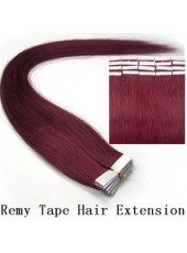 18'' Burgundy Straight 20Pcs Tape In Brazilian Human Hair Extensions