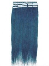 20'' Blue Straight 20Pcs Tape In Brazilian Human Hair Extensions