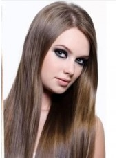 20'' Brown Straight 7Pcs Clip In 100% Indian Human Hair Extensions